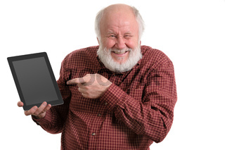 Funny old man using tablet computer isolated on white