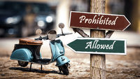Street Sign to Allowed versus Prohibited