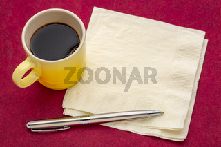 napkin with espresso coffee