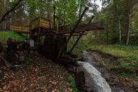 Rustic watermill with wheel