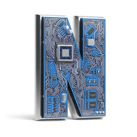 Letter N.  Alphabet in circuit board style. Digital hi-tech letter isolated on white.
