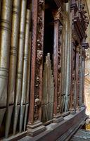 The pipes of the organ in the Cathedral of Evora (Se de Evora). Evora. Portugal.