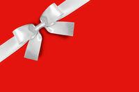 Shiny white satin ribbon bow