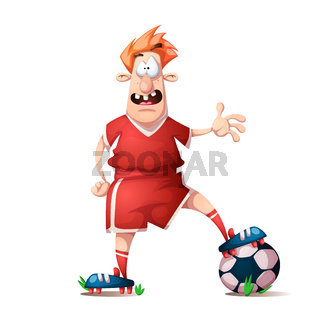 Funny, cute cartoon football player.