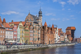 Waterfront View On The River Motlawa , Gdansk, Poland