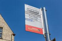 Information panel at bus stop of Edinburgh sightseeing tours