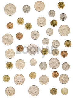 Old Turkish Coins Collection on White Background