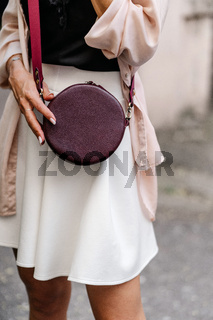 Fashionable, beautiful, women's bag from a close angle.