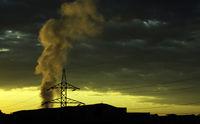 Smoking pylon sunrise
