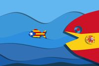 independence Catalonia fish, concept freedom from Spain