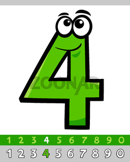 number four cartoon character