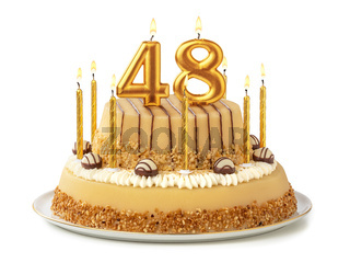 Festive cake with golden candles - Number 48