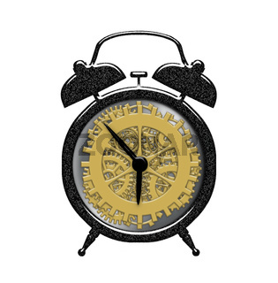 Retro alarm cclock with visible gear clock works inside isolated over white background