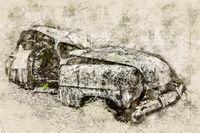 Digital artistic Sketch of a Scrap Car