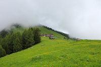 Foggy day in Obermutten, Switzerland.
