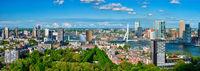 Aerial panorama of Rotterdam city and the Erasmus bridge