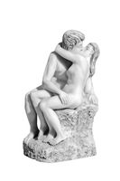 statue of a kissing couple on a white background