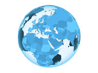 Lebanon on blue globe isolated