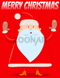 Christmas design with funny cartoon Santa