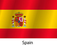 Flag of the country Spain with the signature of the name country