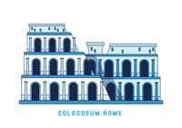 Line art Colosseum, Rome, Italy, European famous sight, amphitheater, vector illustration in flat style.