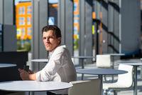 Pensive businessman in cafe