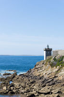 view of the Kermovan lighthouse and bay on the  coast of Brittany in France