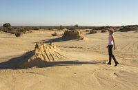 Woman in a desert landscape