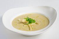 Eggplants cream soup with parmigiano