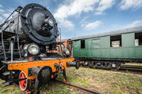 Old retro steam train locomotive