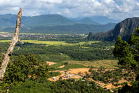 View of nature around Vang Vieng, Vientiane Province. The prospect of the mountains and valleys in Laos.