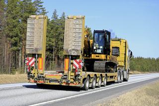 Semi Trailer Transport along Road