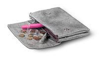 Open gray bag clutch