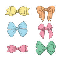 set of vintage hand drawn ribbon bows. Vector illustration