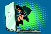 spy. laptop computer. surveillance and hacking