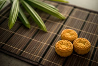 Moon cakes on bamboo mat