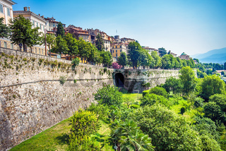 City wall of the old town of Bergamo Lombardy Italy