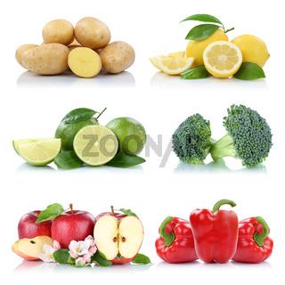 Früchte Obst und Gemüse Sammlung Apfel Kartoffeln Zitrone Farben frische Freisteller freigestellt isoliert
