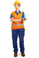 Junge Frau als Bauarbeiter in Schutzkleidung