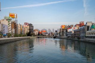 Naka river with sunset view in Hakata, Fukuoka, Japan