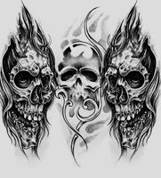 Sketch of tattoo art, skulls