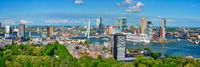 Panorama of Rotterdam city and the Erasmus bridge