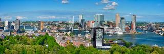 Panorama of Rotterdam city and the Erasmus bridge