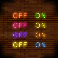 On and Off Lamp Neon Light Toggle Switch Sign. Colorful Fluorescent Buttons