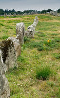 vertical view of the standing stone alignments of Carnac in Brittany