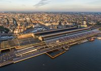 Aerial view of central part of Amsterdam and central train station, Netherlands