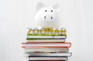 Piggy bank on a stack of books