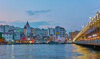 Galata bridge and Karakoy quayside in Istanbul