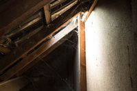 window light in dark old Abandoned Attic