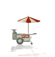 Watercolor hot dog cart